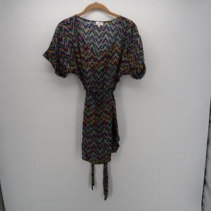 Pixley Short Sleeve Chevron Tie Belted Tunic Dress